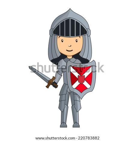 Cartoon knight character with sword - stock vector