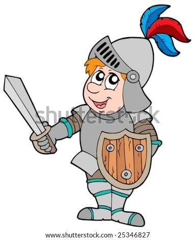 Cartoon knight on white background - vector illustration. - stock vector
