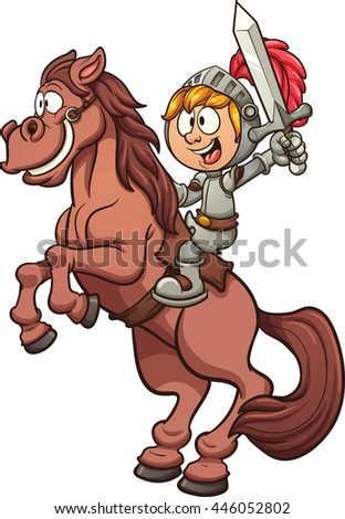 Cartoon knight riding a horse. Vector clip art illustration with simple gradients. Horse and knight on separate layers.   - stock vector
