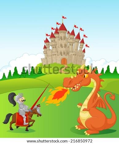 Cartoon knight with fierce dragon - stock vector