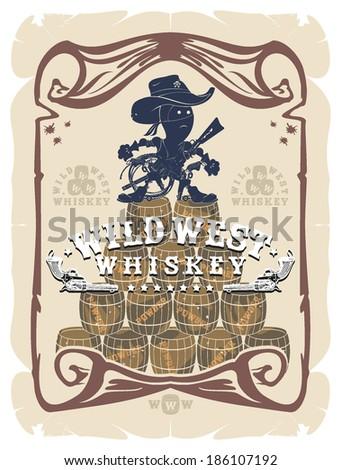 Cartoon label Wild West, vector - stock vector