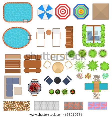 cartoon landscape design elements set top view flat style for home hotel or resort - Garden Furniture Top View