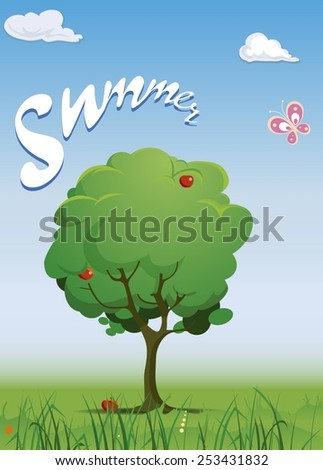 Cartoon landscape with apple tree. Vector illustration - stock vector