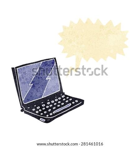 cartoon laptop computer with speech bubble - stock vector