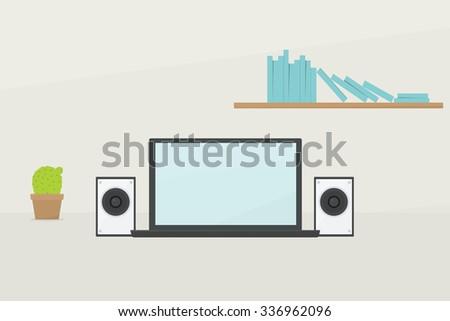 Cartoon laptop. Simple flat image - stock vector