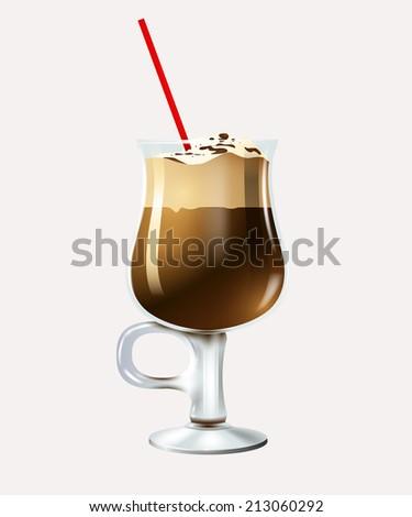 Cartoon latte. Vector eps 10 - stock vector