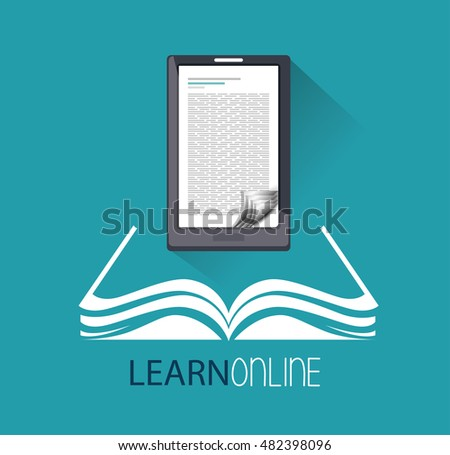 cartoon learn online e-book design isolated