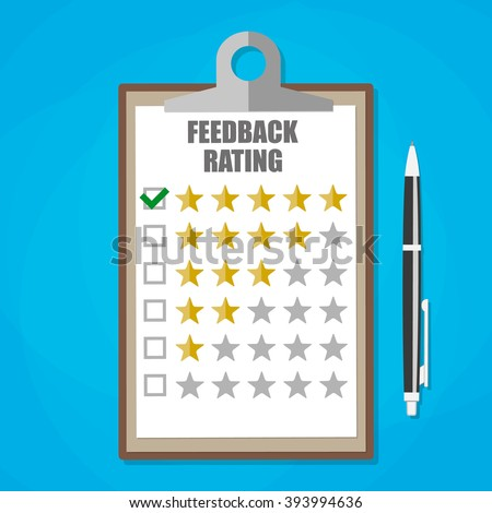 Cartoon leather clipboard with five stars feedback rating and pen. Feedback form, Customer service. vector illustration in flat design on blue background - stock vector