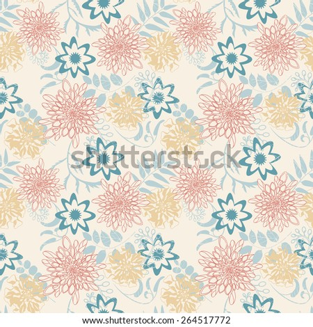 cartoon leaves and flowers in seamless pattern  - stock vector