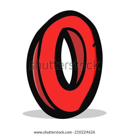 cartoon letter O - stock vector