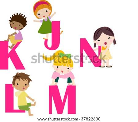 Cartoon letters with children in different positions