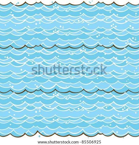 Cartoon light-blue water seamless pattern. Hand drawn vector theme. Good for backgrounds, fabric, kitchen and cafe stuff - stock vector