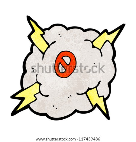 cartoon lightning cloud with number zero