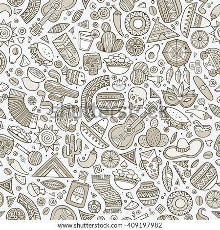 Cartoon line art hand-drawn latin american, mexican seamless pattern. Lots of symbols, objects and elements. Perfect funny vector background.