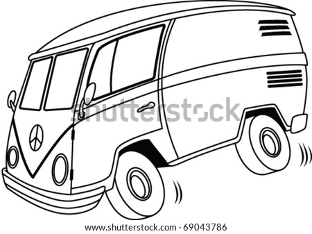 Cartoon Line art Van - stock vector
