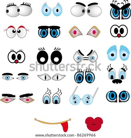 Cartoon lips, eye set - stock vector