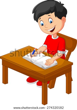 Cartoon little boy writing - stock vector