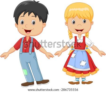 Cartoon little kid happy hansel and gretel - stock vector