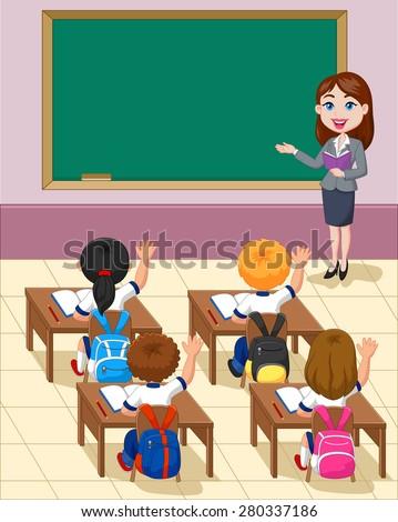 cartoon little kids a study in the classroom - stock vector