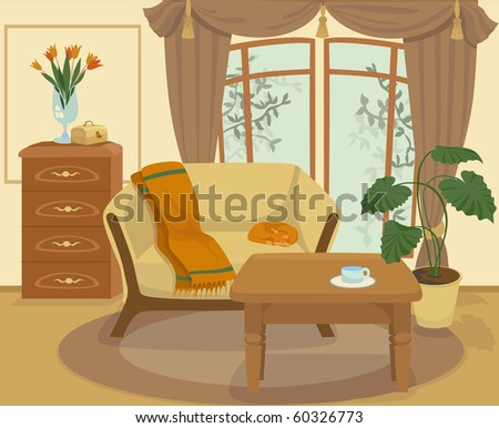 Cartoon living room - stock vector