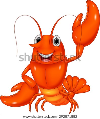 Cartoon lobster waving on white background - stock vector