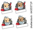 Cartoon Logo Mascot-Man Carrying A Wrench And Tool Box Collection - stock