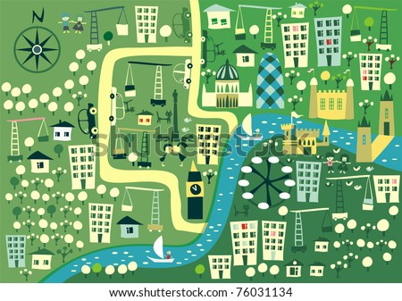 cartoon London map - stock vector