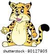 Cartoon lynx on white background - vector illustration. - stock vector