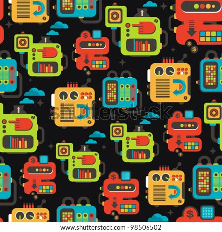 Cartoon machines seamless texture. Vector pattern with different cute robots and equipment. - stock vector