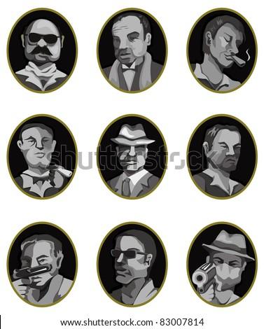 cartoon mafia icon set,label button - stock vector