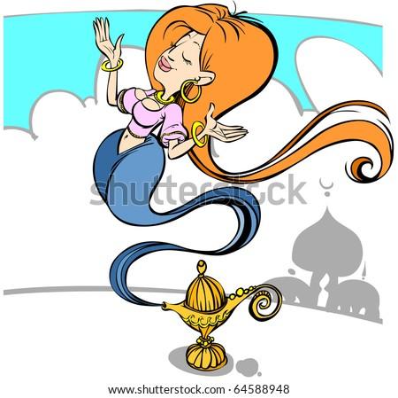 Cartoon magic girl in a lamp. - stock vector
