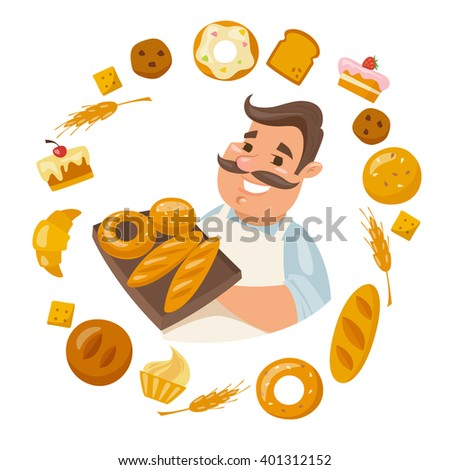 Cartoon male character holding bred. Smiling man. Different kinds of bread.  - stock vector