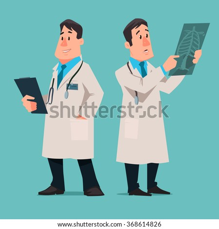 cartoon male doctor character, test results x-ray, vector illustration, isolated background - stock vector