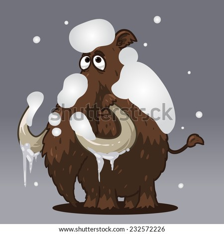 cartoon mammoth in the snow - stock vector