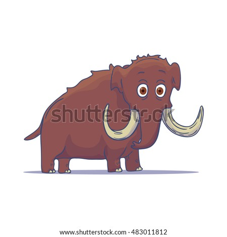 Cartoon Mammoth isolated on white background. Vector illustration
