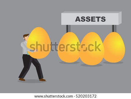 Cartoon man carrying a huge golden eggs and gather them under a sign that reads Assets. Creative vector illustration on metaphors for accumulating financial assets.