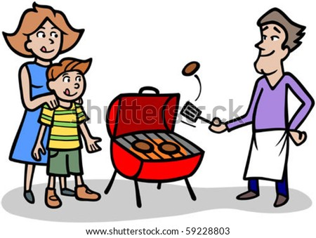 cartoon man cooking patties on bbq stock vector royalty free
