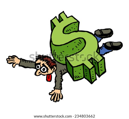 Dollar Man Cartoon Cartoon Man Crushed by The