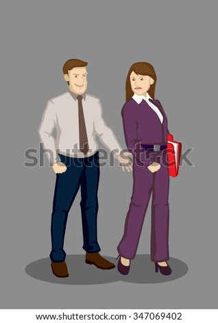 Cartoon man extending hand to grab buttocks of female colleague. Vector illustration on inappropriate behavior work concept isolated on grey background. - stock vector