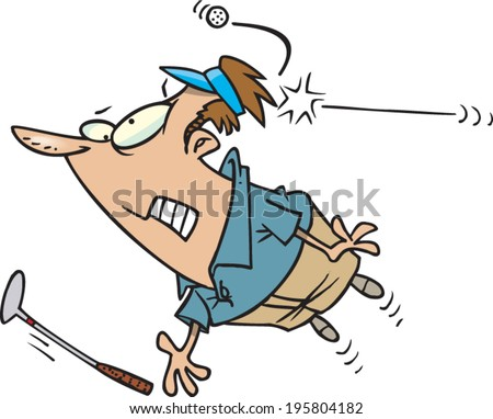 cartoon man getting hit on the head with a golf ball - stock vector