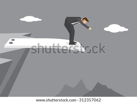 Cartoon man getting ready to jump from spring board at the edge of mountain cliff. Creative vector illustration on business concept using wordplay.  - stock vector