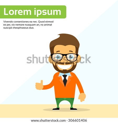 Cartoon Man Hand Shake Welcome Gesture Smile Person Character Flat Vector Illustration - stock vector