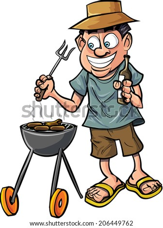 Cartoon man having a barbecue with a drink. Isolated on white - stock vector