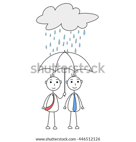 Cartoon man helping other with umbrella under rainy cloud