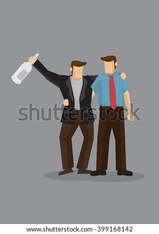 Cartoon man holding a drink bottle and supported by his buddy. Vector illustration on drinking buddy concept isolated on grey background. - stock vector