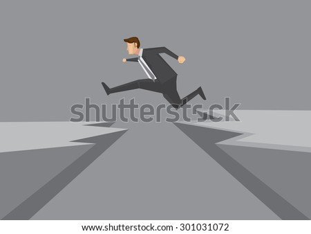 Cartoon man in business suit jumps from one rocky cliff to another. Creative vector illustration for overcoming obstacles and risk taking concept isolated on grey background. - stock vector