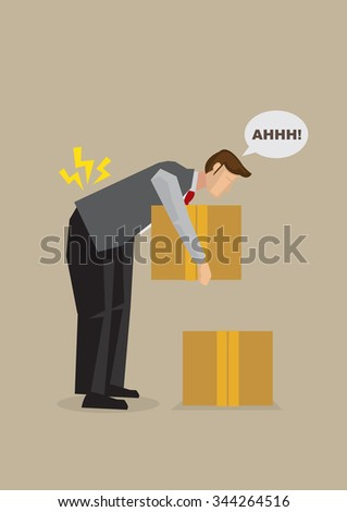 Cartoon man injured lower back by bending over to lift heavy box from the floor. Vector illustration on work-related back injury due to back posture concept.   - stock vector