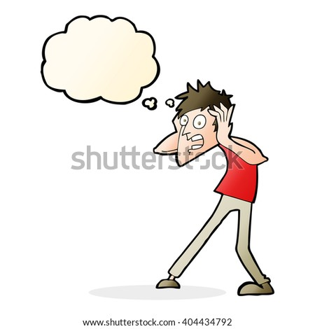 cartoon man panicking with thought bubble - stock vector