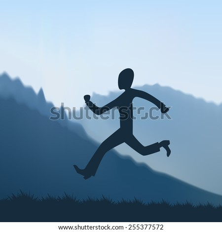 cartoon man running in the mountains