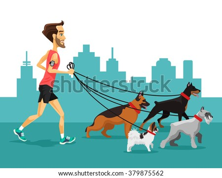 Cartoon man running with his dogs. Vector flat illustration - stock vector